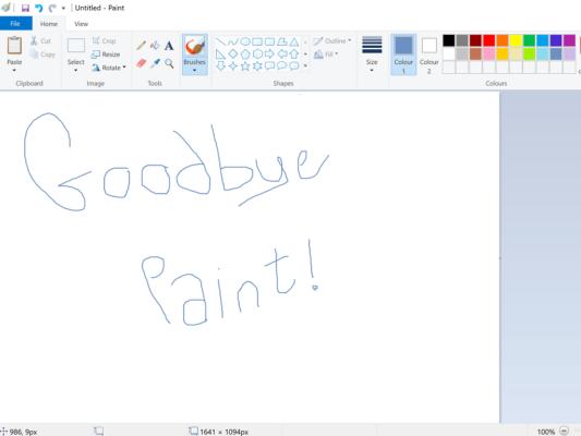 Goodbyte Microsoft Paint