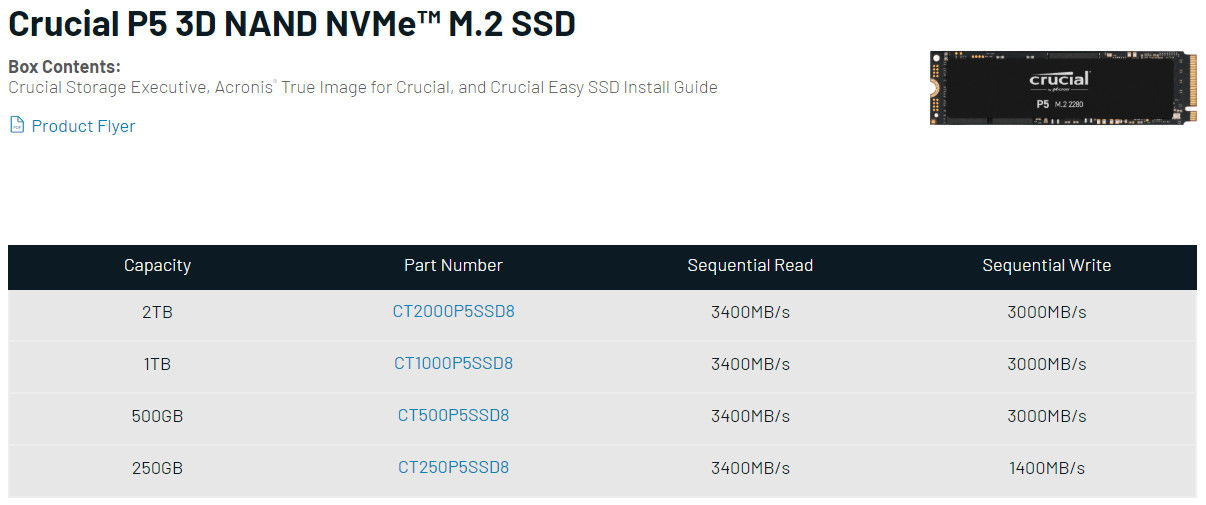 Crucial P5 NVMe SSD Specs