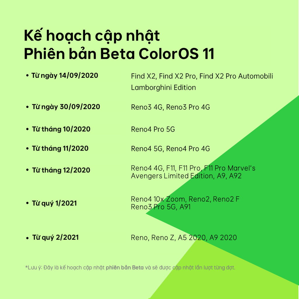 lich cap nhat OPPO COLOR OS 11